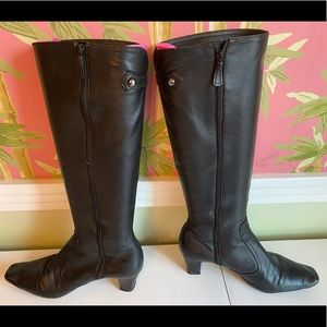 Cole Haan Tall Black Boots with small Heel